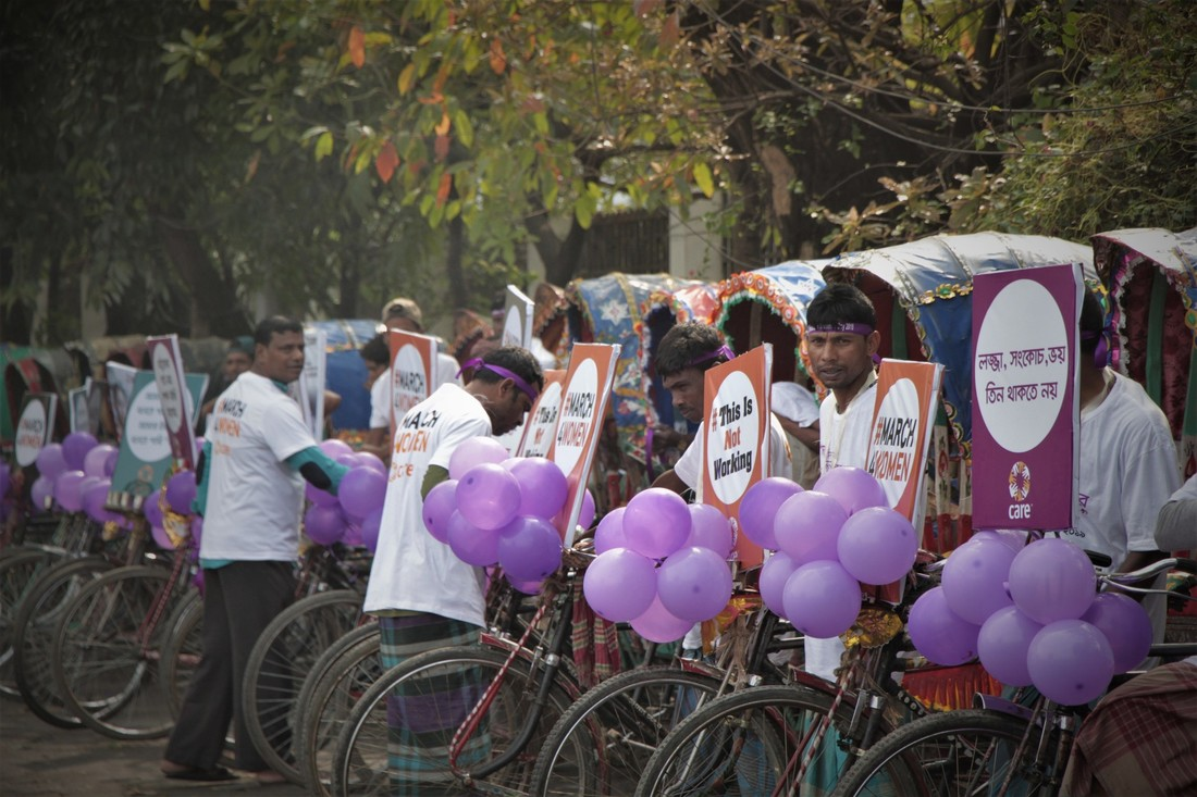 CARE Bangladesh organized a vibrant rickshaw rally for celebrating International Women's Day.