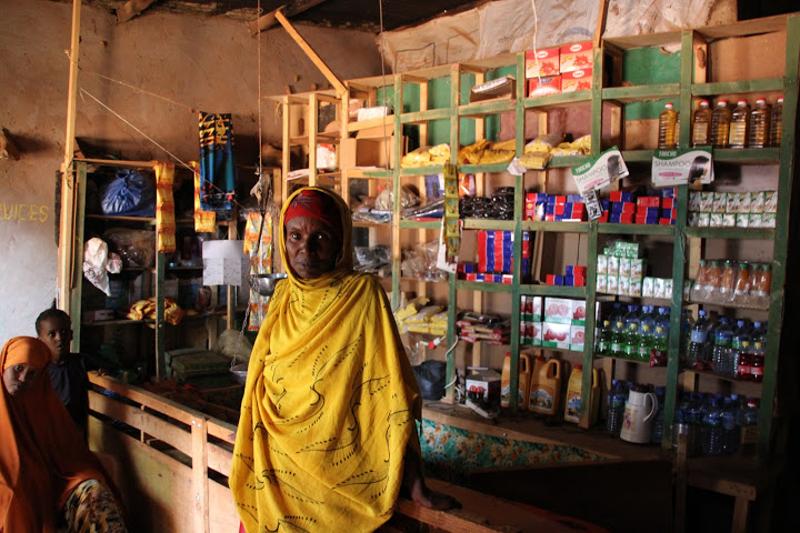 Luli sells groceries in her shop in the village of Haro Shiikh, Somaliland. Photo: Johanna Mitscherlich/CARE.