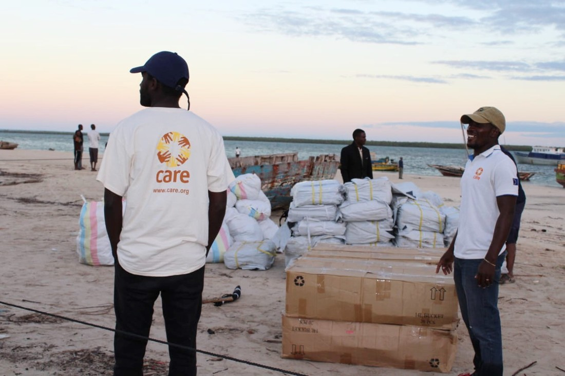 CARE staff deliver aid to Quirrimba island in Northen Mozambique following the destruction caused by Cyclone Kenneth.