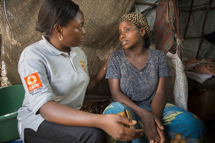 Josephine Marciane (37) is a survivor of sexual and gender based violence. After being raped while pregnant with her and her husband's baby, her husband left the family. Today she lives with her 9 children in Lac Vert Camp near Goma, DRC, where she receives support from CARE in the form of cash distribution, psycho-social support, and food distribution.