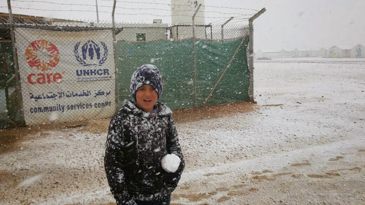 Snow hit Azraq camp, located in the middle of the desert about 100 KMs east of Amman.CARE helps Syrian refugees in Azraq camp through many services such as case information provision, community based activities, community mobilization, and more. CARE supports refugees in Syria Crisis