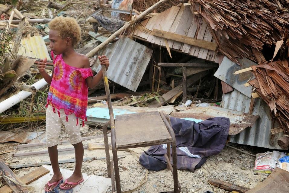 Children in Vanuatu after Cyclone Pam